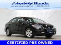 Certified. Crystal Black Pearl 2015 Honda Civic LX FWD