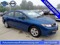 This 2015 Civic sedan is a one owner vehicle with a