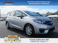 This 2015 Honda Fit LX in Silver is well equipped with: