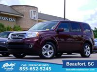 2015 Honda Pilot in Burgundy. 4WD. Fuel-friendly.