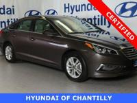 HYUNDAI CERTIFIED, INCLUDES WARRANTY, ONE OWNER.