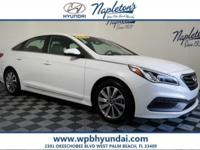 2015 Hyundai White Sonata Certified. CARFAX One-Owner.
