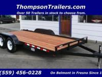 New 16 foot Flatbed Car Trailer w/ Ramps Standard