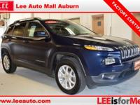 2015 Jeep Cherokee Latitude Blue Jeep Certified. CARFAX