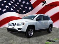 Clean CARFAX. White 2015 Jeep Compass Sport FWD 2.0L I4