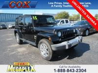 This 2015 Jeep Wrangler Unlimited Sahara in Black