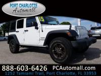 Clean CARFAX. Bright White Clearcoat 2015 Jeep Wrangler