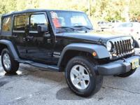 Black Clear Coat exterior, Sport trim. Jeep Certified,