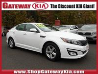 KIA CERTIFIED, PEARL WHITE OPTIMA LX HAS A CLEAN