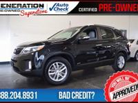 Kia Certified, AWD, Ebony Black, and 2015 Kia Sorento.