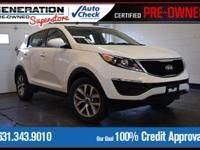 New Price! Certified. Clear White 2015 Kia Sportage LX