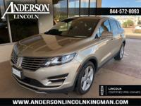 Certified. Silver Sand Metallic 2015 Lincoln MKC FWD