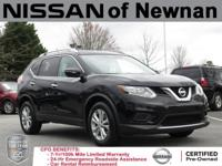 Clean CARFAX. Black 2015 Nissan Rogue FWD CVT with