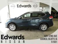 The Nissan Rogue features a striking front end,