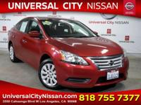 Clean CARFAX. Certified. Red 2015 Nissan Sentra SV 4D