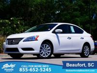 2015 Nissan Sentra in White. CVT with Xtronic and