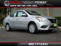 Versa 1.6 SV, Nissan Certified, and Silver. Gasoline!