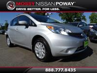 Versa Note SV, Nissan Certified, CVT with Xtronic, and