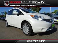 Versa Note SV, Nissan Certified, and White. Gasoline!