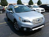 Certified. Silver 2015 Subaru Outback 2.5i Limited AWD