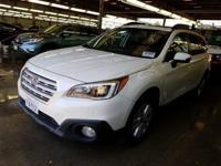 Clean CARFAX. Crystal White Pearl 2015 Subaru Outback