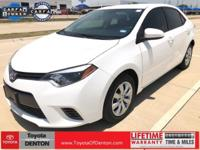CARFAX One-Owner. White 2015 Toyota Corolla LE FWD CVT