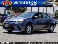 Our superb 2015 Toyota Corolla L is presented in Slate