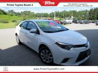 Certified. 2015 Toyota Corolla LE in White. 38/29