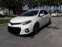 New Price! Clean CARFAX. White 2015 Toyota Corolla S