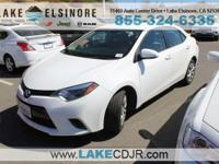 CVT Clean CARFAX. White 2015 Toyota Corolla LE FWD 1.8L