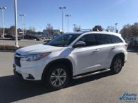 Blizzard Pearl 2015 Toyota Highlander XLE FWD 6-Speed