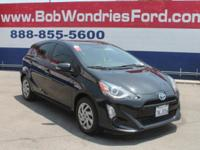 Clean CARFAX. Black 2015 Toyota Prius c Two FWD CVT