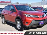 CARFAX One-Owner. Red 2015 Toyota RAV4 LE FWD 6-Speed