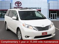 Certified. Blizzard Pearl 2015 Toyota Sienna XLE 7