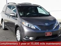 Certified. Gray 2015 Toyota Sienna XLE 7 Passenger AWD