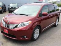 Certified. Red 2015 Toyota Sienna XLE FWD 6-Speed