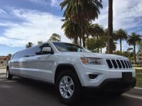 SUV Limo: 2015 White 140-inch stretch Jeep Grand