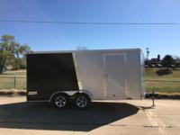 2015 haulmark trailer 7x16 black and sliver enclosed.