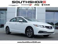 CARFAX One-Owner. 2015 Honda Civic EX White 39/30