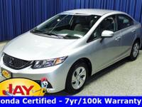 Options:  2015 Honda Civic Lx|Silver|Smart Buy!  Don't