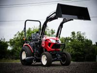 With a front-end loader mid-mount mower and rear PTO