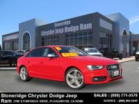 Options:  2016 Audi S4 Premium Plus Sedan|Red|V6