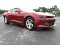Certified. Red 2016 Chevrolet Camaro 1LT RWD 8-Speed
