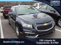 Clean CARFAX.  Blue 2016 Chevrolet Cruze Limited 1LT