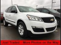 Clean CARFAX. Summit White 2016 Chevrolet Traverse LS