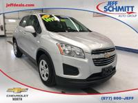 Certified. 2016 Silver Ice Metallic Chevrolet Trax FWD