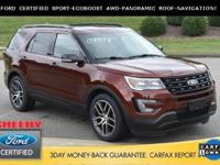 2016 FORD EXPLORER SPORT, FORD FACTORY CERTIFIED WITH 7