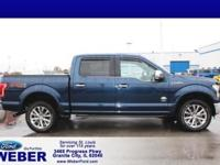 Blue 2016 Ford F-150 4WD. With Weber recently taking