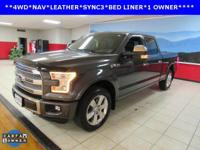 ONE OWNER, BACKUP CAM, BED LINER, LEATHER, NAVIGATION,
