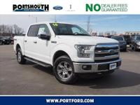 New Price! Clean CARFAX. 2016 Ford F-150 Lariat White